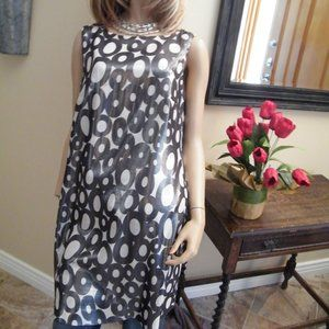 Trina Turk Sheath Shift Silver metallic Circles 12